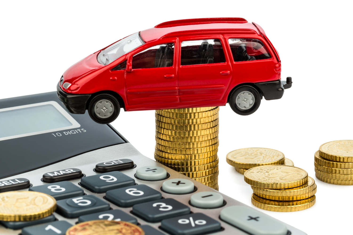 car and calculator. rising costs for car sales, leasing, workshop, refueling and insurance